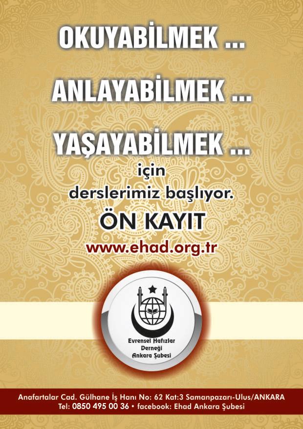 Evrensel hafızlar Derneği Ankara Şubesi Organizesinde Sahih okuma Seminerleri
